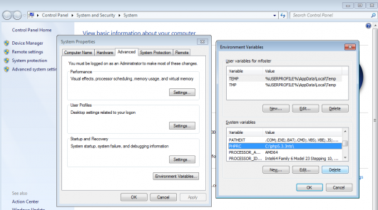 how to delete the phprc environment variable